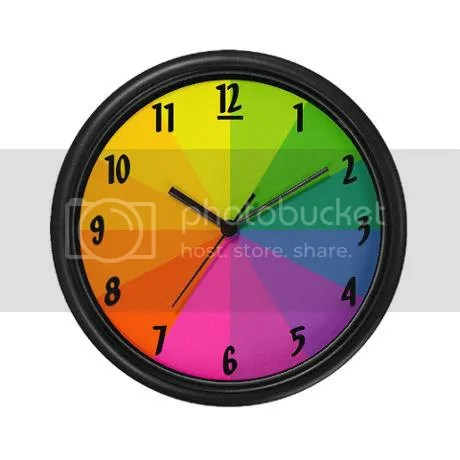rainbow Color Wheel Wall Clock on CafePress