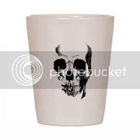 Skull Face Shot Glass on CafePress