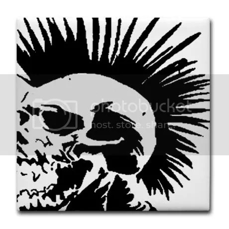 punk black and white Skull Mohawk Tile Coaster on CafePress
