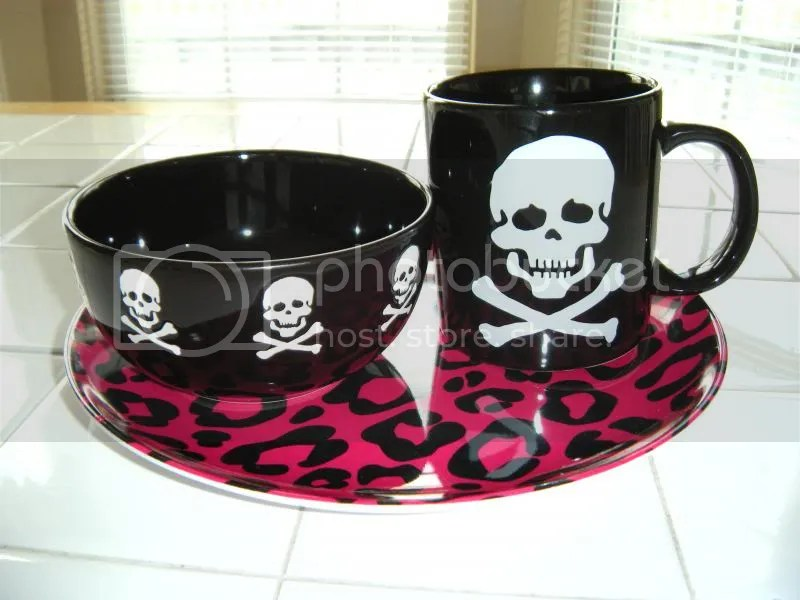 Black Waechtersbach Skull Bowl Mug and Leopard Print Hot Pink Melamine Plate
