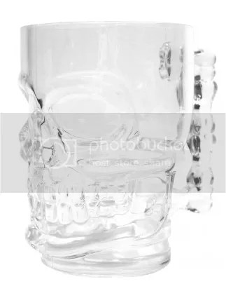 Clear Glass Skull Stein Mug Cup