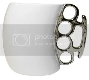 Punk White Brass Knuckles Coffee Mug
