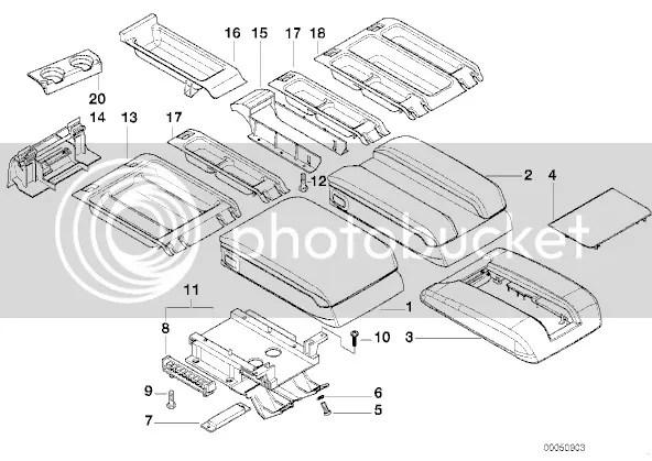 BMW E38 Center Console Armrest Arm Rest Tray Storage 740i