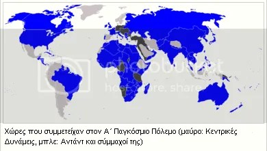 Α' Παγκόσμιος Πόλεμος - Χάρτης κρατών