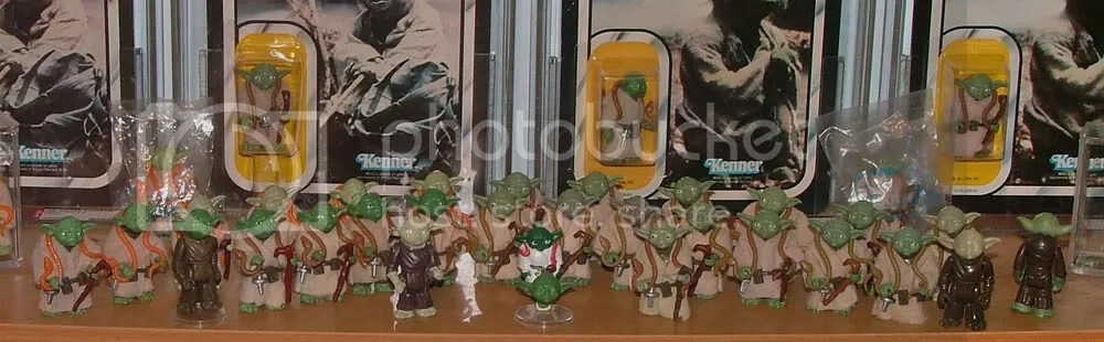 Close up of loose figures on Yoda shelf