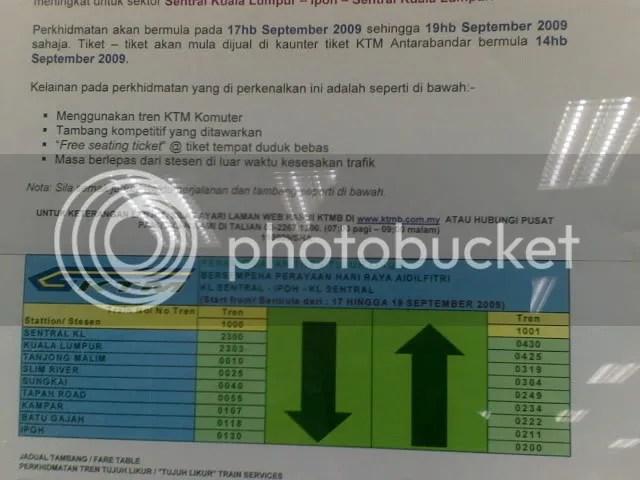 Information on the KTM EMU Balik Kampung Shuttle - image courtesy of TWK90
