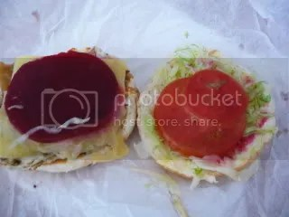 Last, but not least, tomato and lettuce, also known as salad.