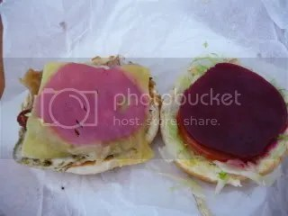The all-important beetroot.  Notice the pepto bismol pink stain it leaves on the cheese slice.
