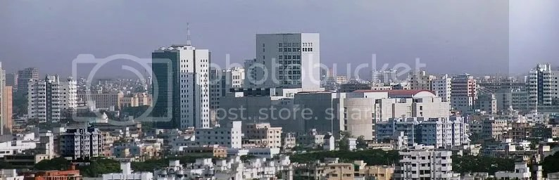A panoramic view of downtown Dhaka, Bangladesh