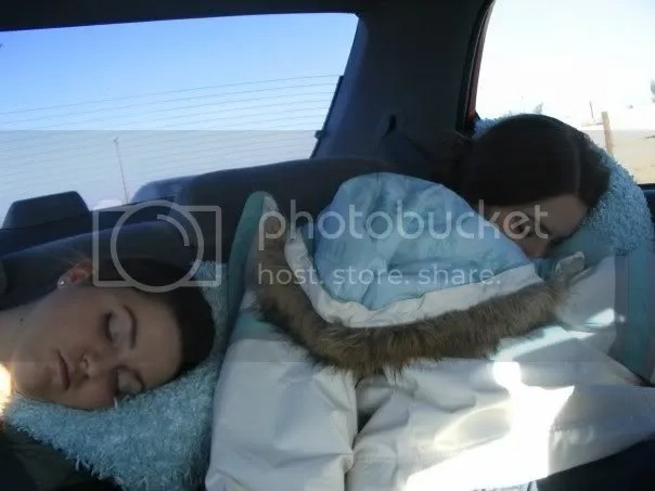 Rebecca and Ellen crashed out in the back seat.