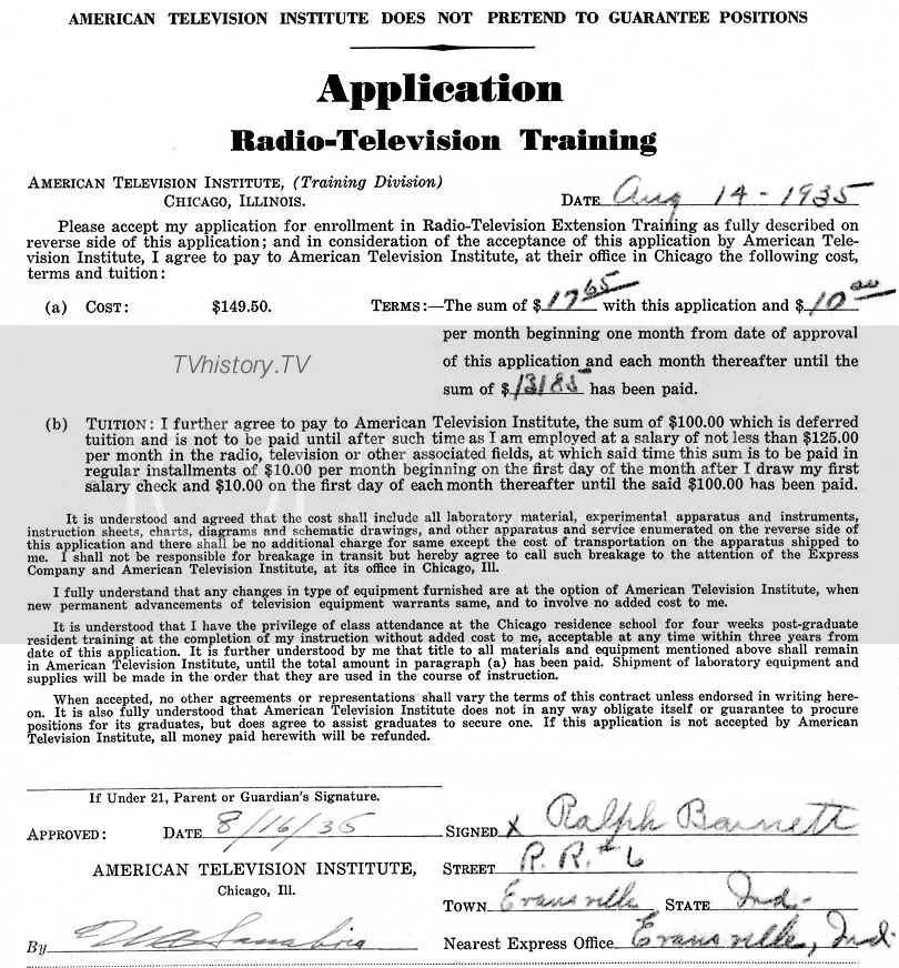 1935 application to attend the American Television Institute