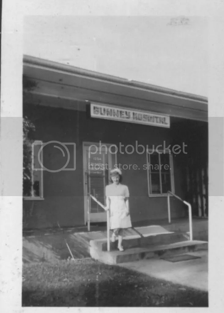 Jane outside the Bunney Hospital in Fairfield, California, winter of 1945/1946