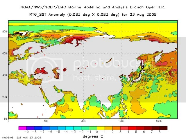 Sea surface temperature anomalies, NE quadrant of earth, 23 August 2008, °C