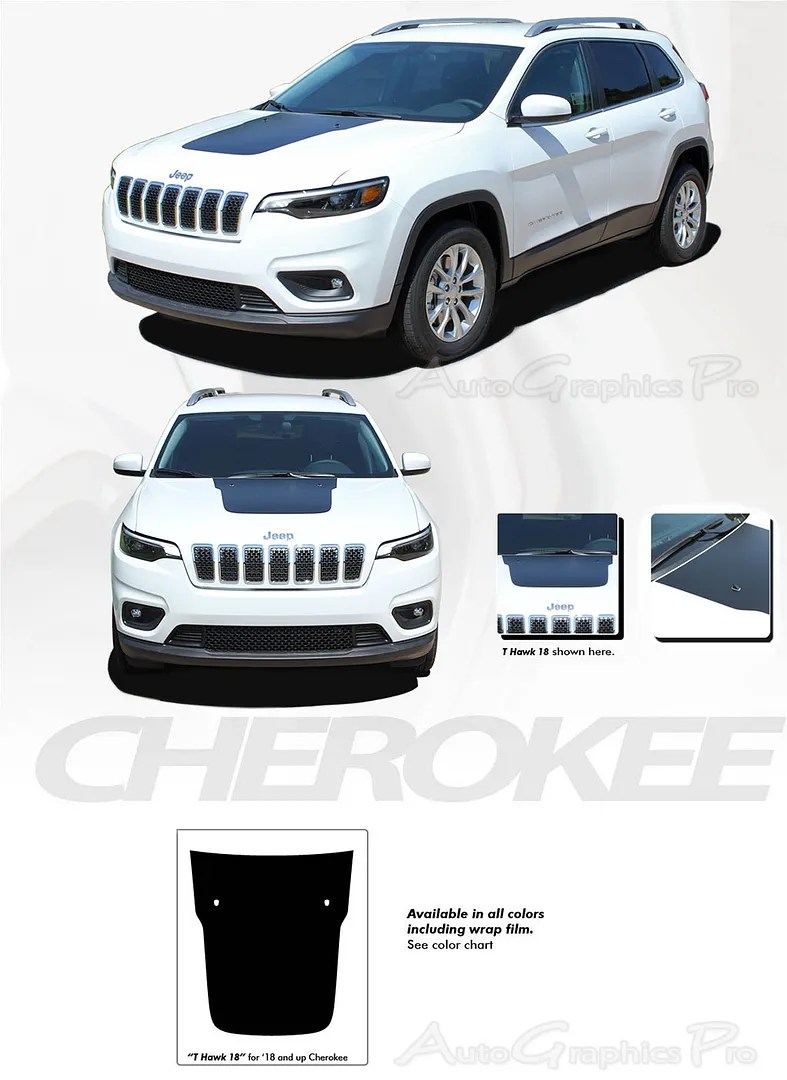 Jeep Grand Cherokee Hood Decals : grand, cherokee, decals, Decals, Black, Vinyl, Graphic, Trailhawk, Stripes, 2018-2021, Cherokee