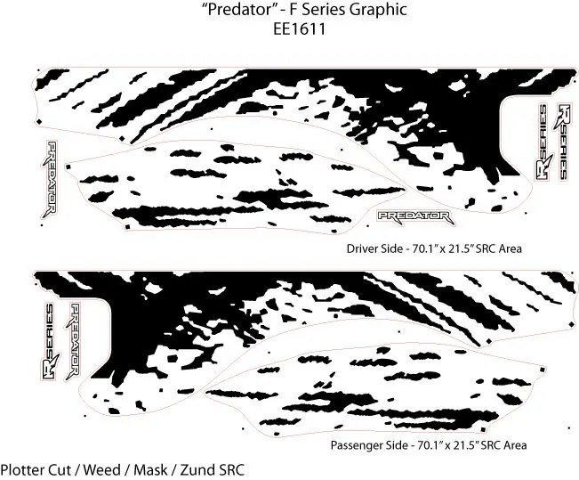 Predator Raptor Style Mud Stripes Decals 3M Vinyl Graphics