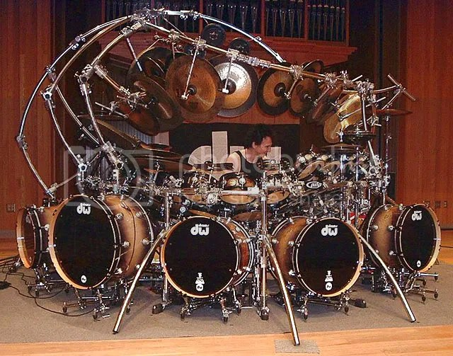 I couldnt decide which viewpoint of this drum set was most ludicrious. I hope this is sufficient.