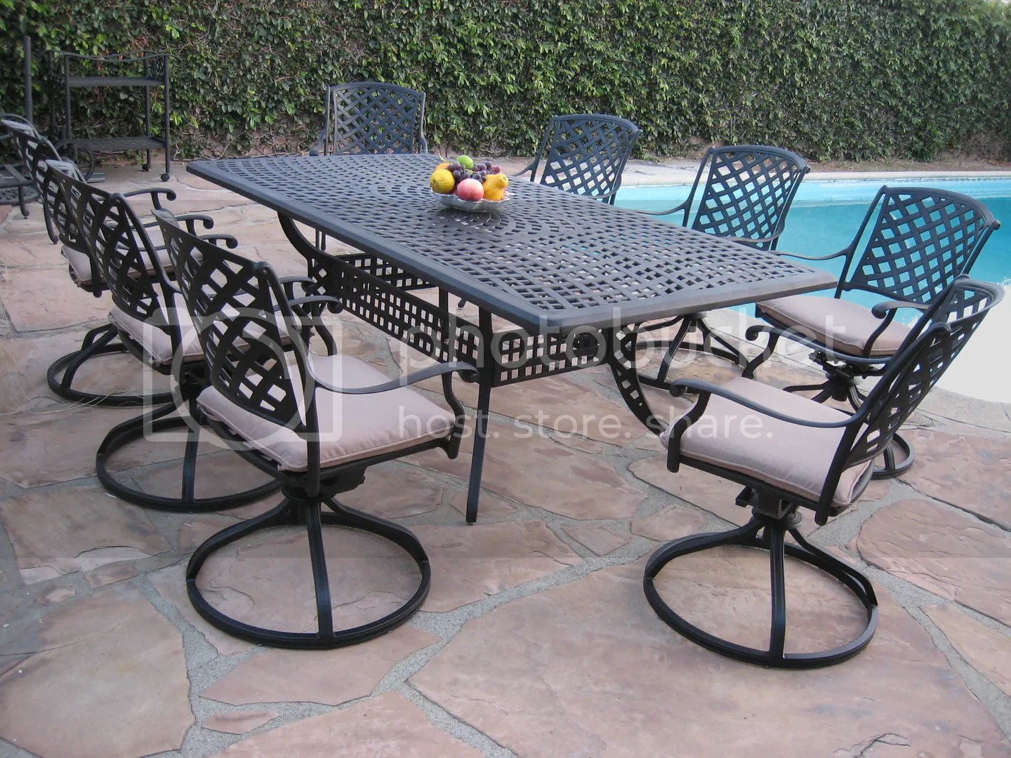 Outdoor Cast Aluminum Patio 9 Peice Dining Set ML8444TR