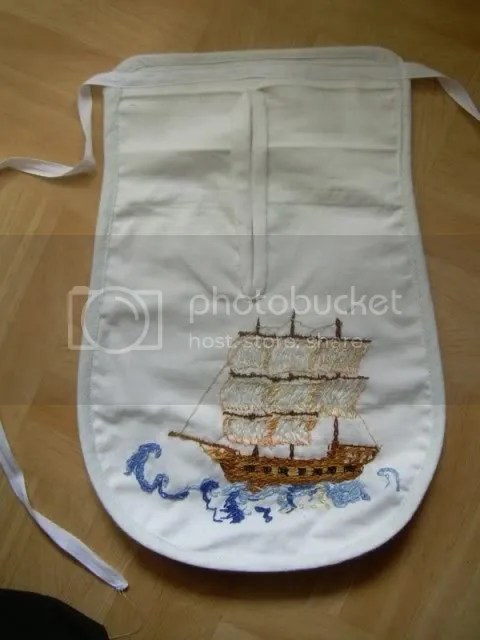 hand embroidered 18th century pocket with sailing shipa frigate