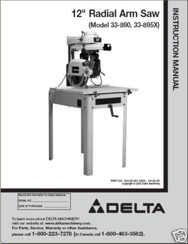 Delta 900 Radial Arm Saw Manual