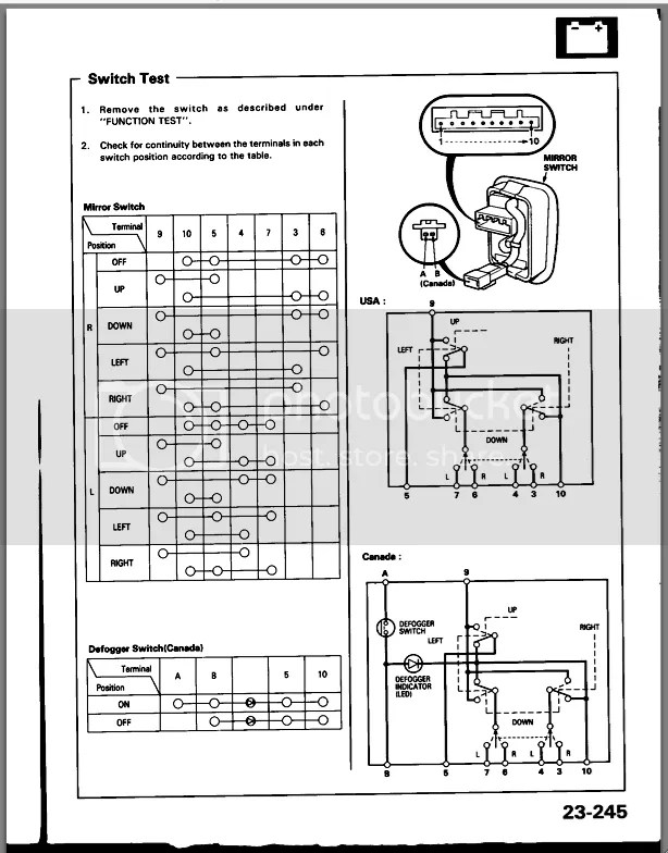 Picture request: Power mirror wiring diagram (non power