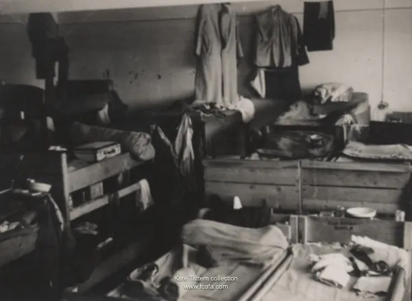 Typical cramped accommodation of a Displaced Persons Camp.