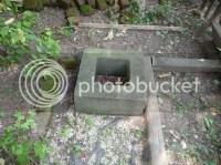 Concrete squares in yard