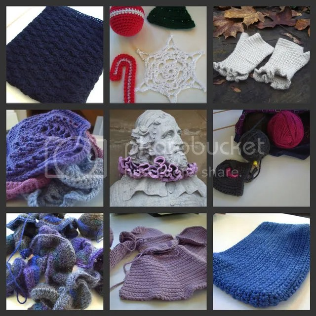 Collage of my current crochet projects