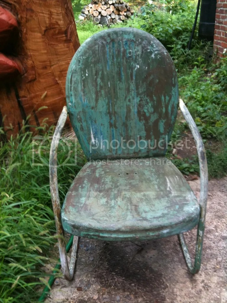 old metal chairs folding web lawn uncle atom finishing up the outdoor steel rocking chair