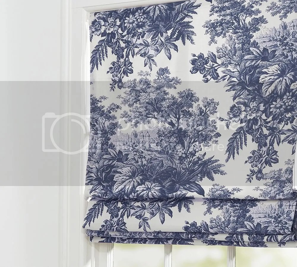 French Country Matine Toile Roman Shade Ink Blue 36x64