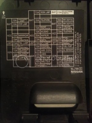 Need photo of fuse box diagram for '99  Maxima Forums