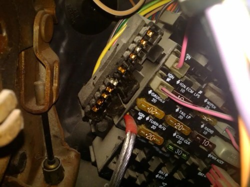 small resolution of the reciever pin on the fuse box has a light blue wire going to it from the brake light switch on the pedal but the 85 and prior switch is different then