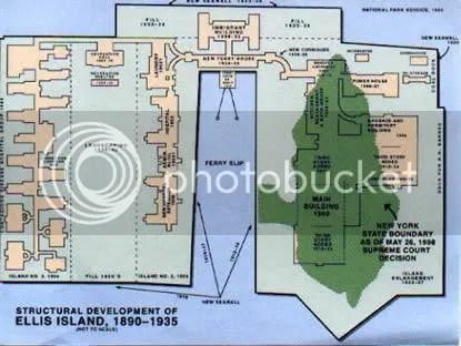 Map of Ellis Island showing state boundaries