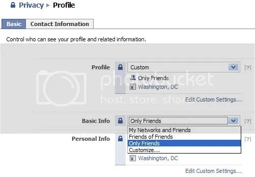 Facebook Profile Privacy page