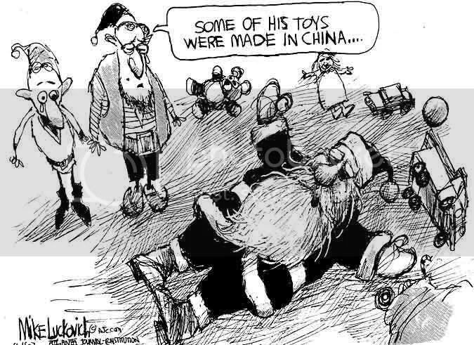 Political cartoon - Santa fainting