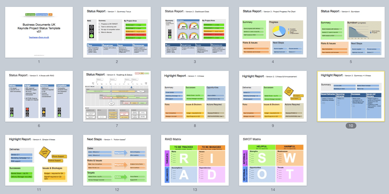 13 Project Status Templates In 1 Keynote File.