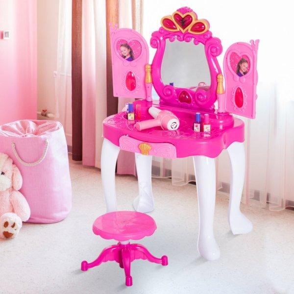Homcom 23 Pcs Girls Princess Style Dressing Table & Stool