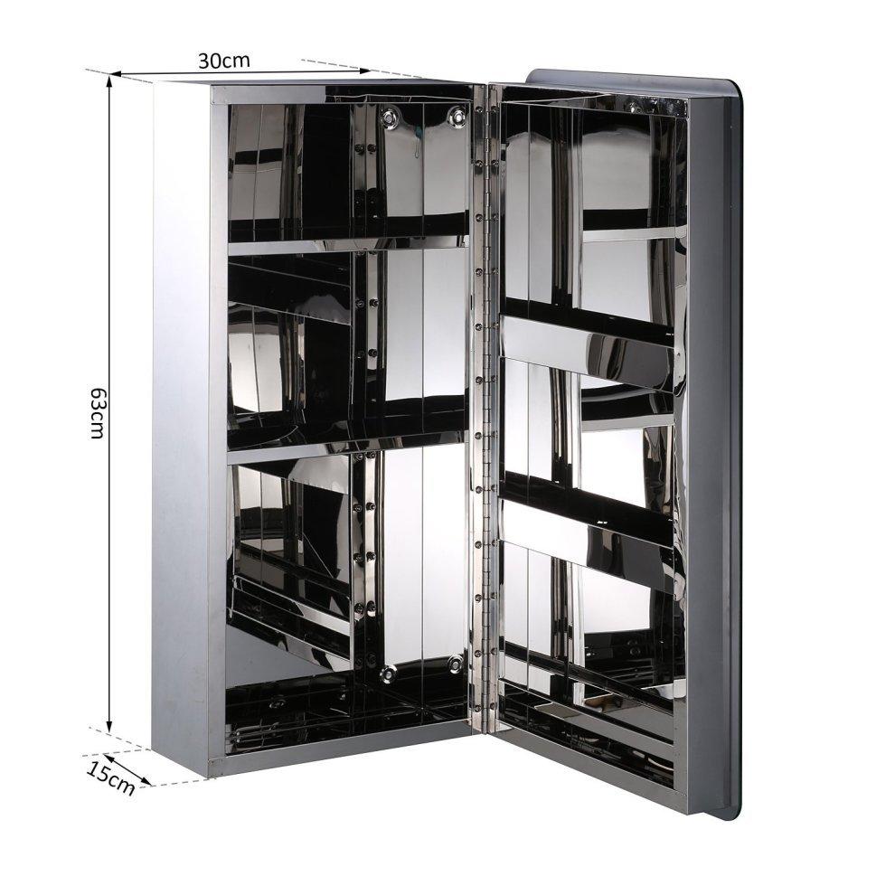 Homcom Modern Bathroom Cabinet Mirror Stainless Steel