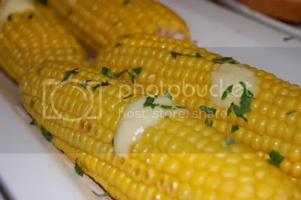 Roasted Corn with margarine and herbs