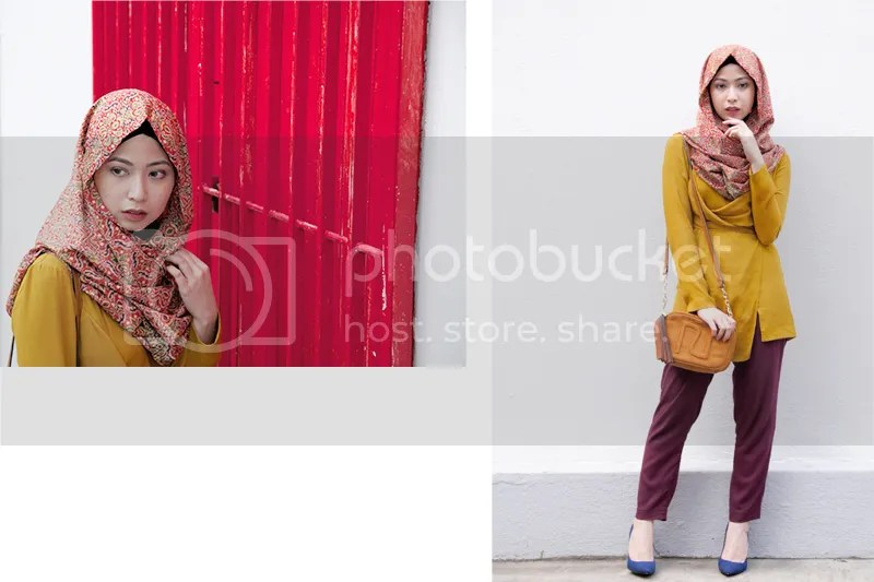 photos by Muhammad Khidhir (batik snoodie c/o Harmoni, Hana Tajima x Uniqlo  tunic and pants c/o Uniqlo, River Island crossbody bag, Zalora heels)