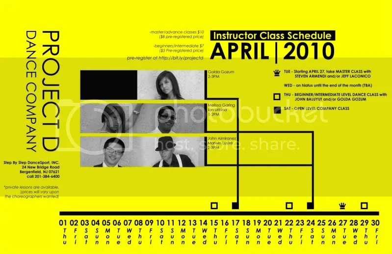 Project D's MONTH SCHEDULE of APRIL