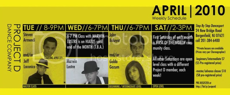 Project D Dance Company's Weekly CLASS SCHEDULE
