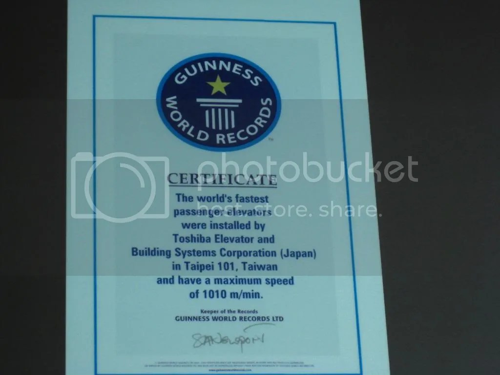 The certificate for the elevator~