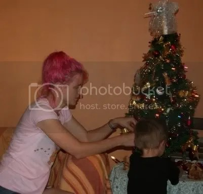 pink hair girl and tree