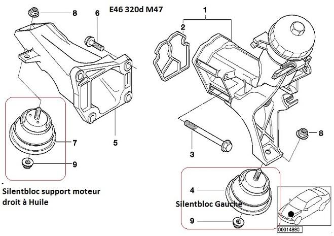 [ BMW e46 320d an 1999 ] boite accrocheuse, support moteur