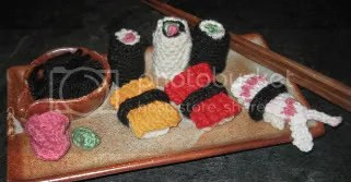 Knitted sushi