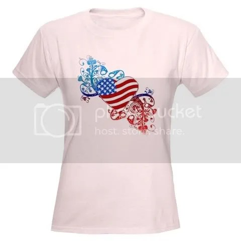 July 4th Heart Scroll Women's Light T-Shirt