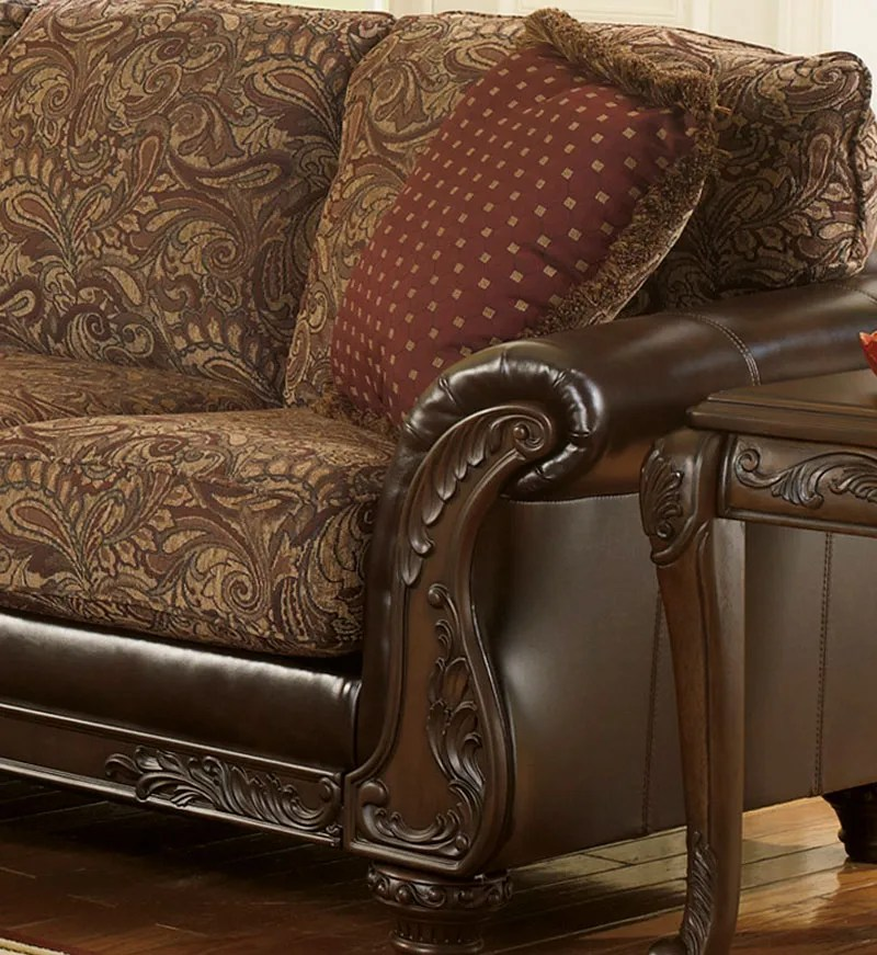 leather and chenille sofa cheap corner garden furniture aubrey old world brown faux couch loveseat set living room ifd furnishings
