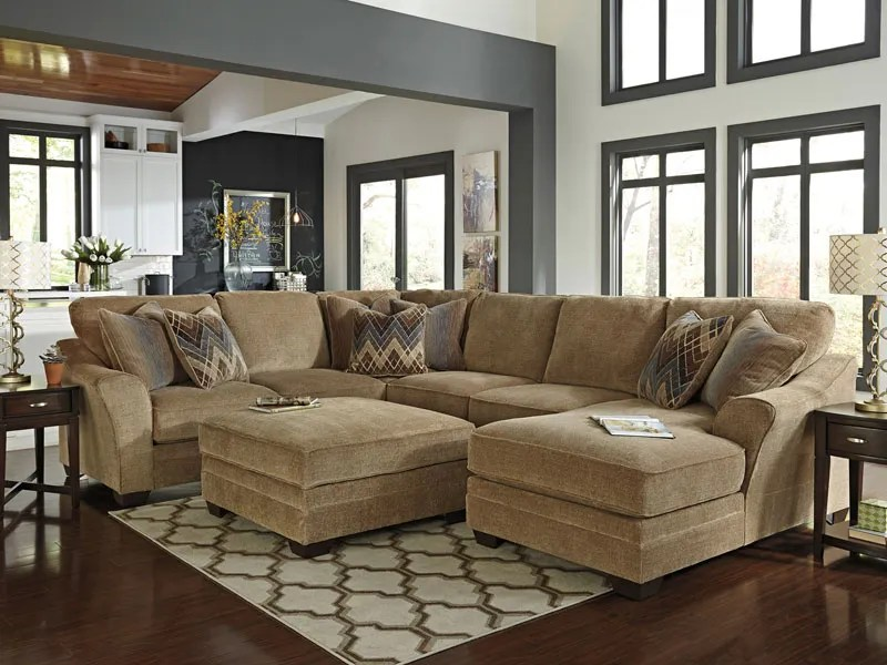 Large Modern Brown Chenille Living Room Sofa Couch