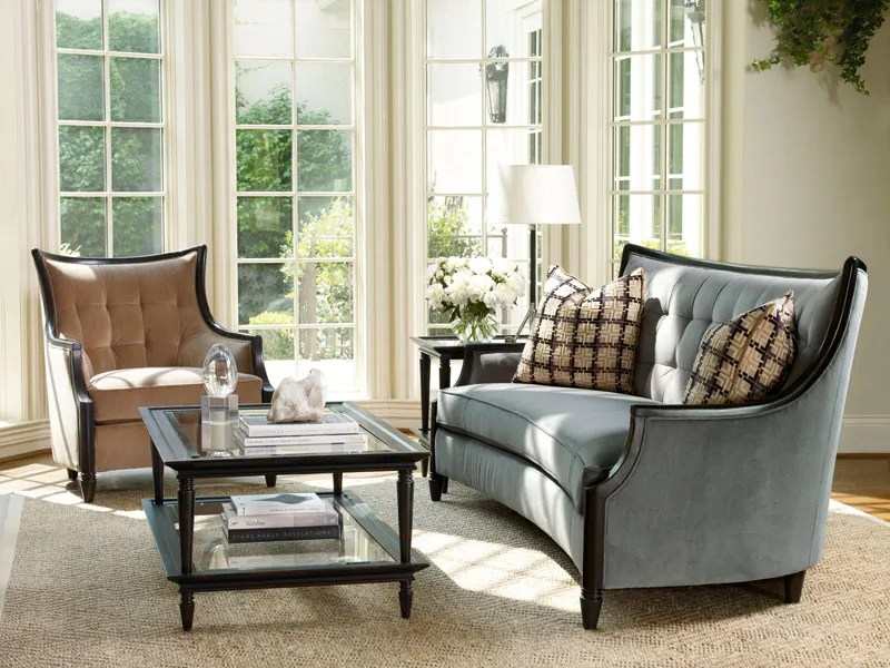 couch and chair set stretch dining covers riley modern living room wood trim blue microfiber sofa tufted
