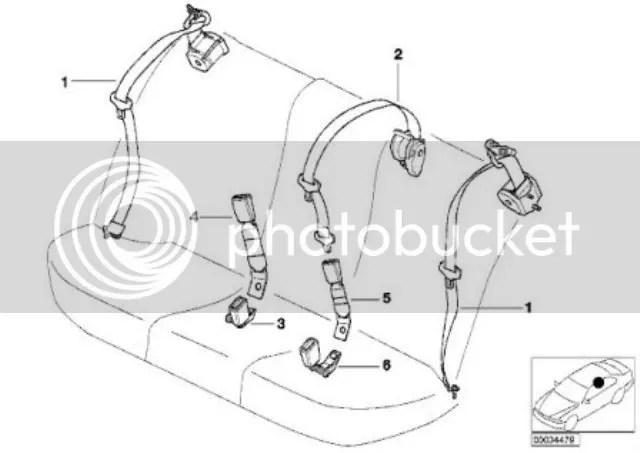 BMW E39 5 Series Rear Centre Passenger Seat Belt Socket